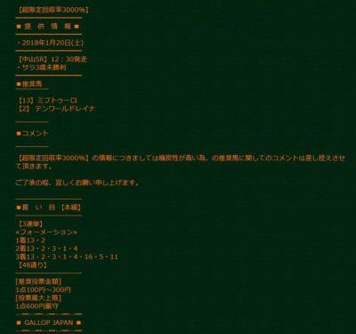 ギャロップジャパン_中山5R_超限定回収率3000%買い目